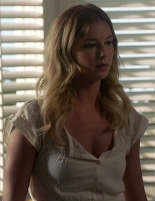 Emily's white crochet dress on Revenge