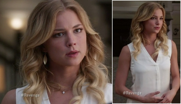 Emily's white v neck blouse and gold leaf earrings on Revenge