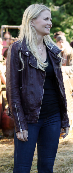 Emma's maroon leather jacket on Once Upon a Time