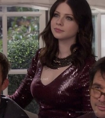 Georgina's red sequinned dress at Serena's wedding on Gossip Girl