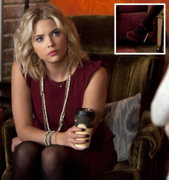Ashley Benson's ox blood peplum dress on PLL