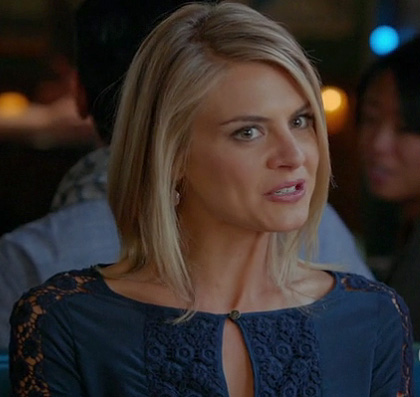Jane's blue lace top on Happy Endings