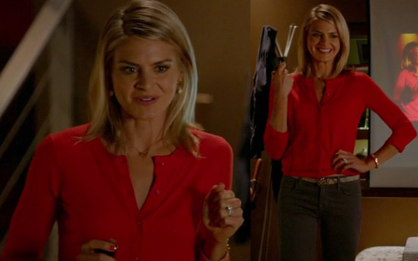 Janes red cardigan on Happy Endings