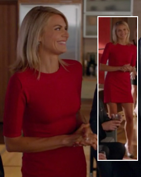 Jane's red mini dress with sleeves on Happy Endings