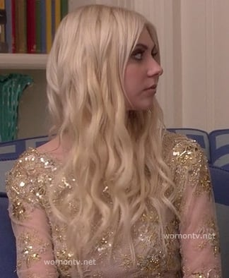 Jenny's (Taylor Momsen) sheer gold mini dress on Gossip Girl (at Serena's wedding)