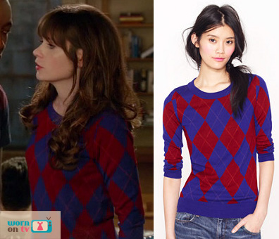 Jess Day's red and blue diamond check sweater on New Girl