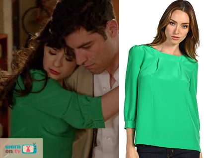 Jess Day's green blouse on New Girl