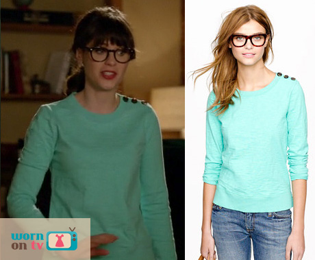 Jess's pastel green sweatshirt with shoulder buttons on New Girl