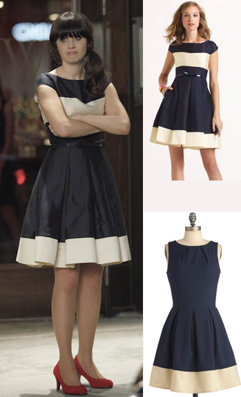 Jess's navy and white colorblock dress on New Girl