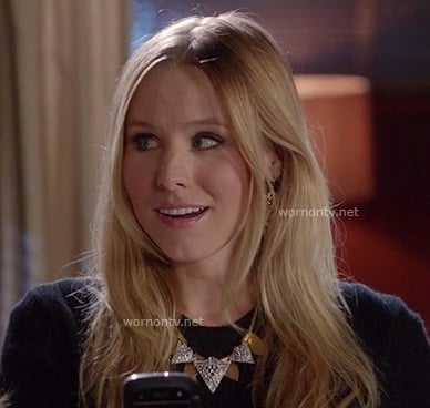 Kristen Bell's gold and silver triangle necklace on Gossip Girl