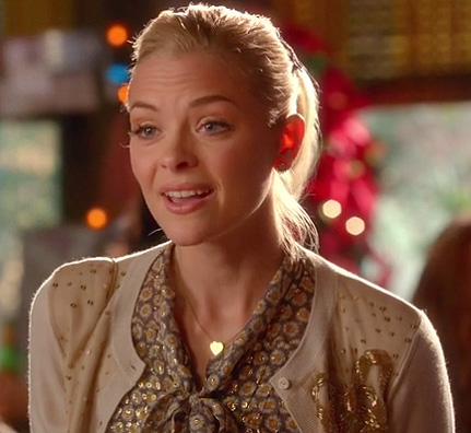 Lemon's floral blouse with bow and gold sequin cardigan on Hart of Dixie