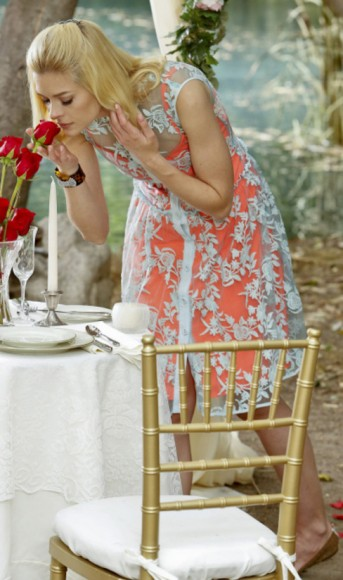 Lemon's coral orange dress with lace overlay on Hart of Dixie