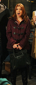 Lily's burgundy toggle duffle coat on How I Met Your Mother