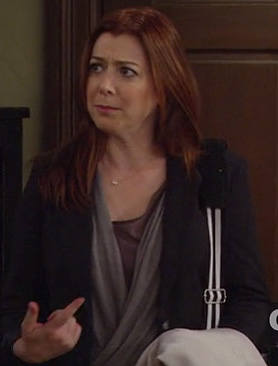 Lily's grey wrap top on How I Met Your Mother