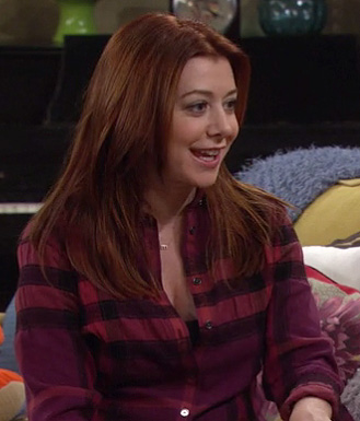 Lily's purple/magenta check top on HIMYM season 8