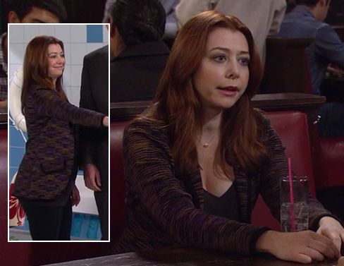 Lily's purple and yellow stripe print blazer on HIMYM