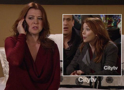 Lily red cowl neck sweater and grey coat on HIMYM Season 8