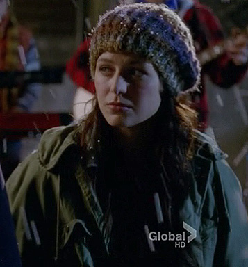 Marley's green parka jacket and knit beanie on Glee