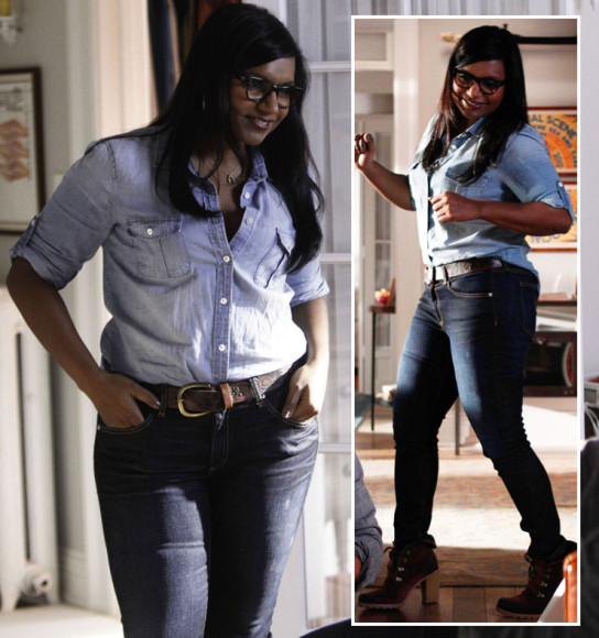 Mindy's chambray shirt, wishbone necklace and lace up booties on The Mindy Project