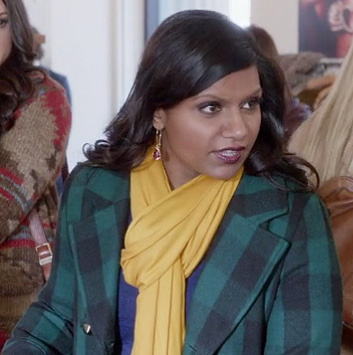 Mindy's green check coat and yellow scarf on The Mindy Project