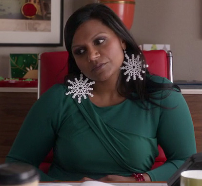 Mindy's green dress and oversized snowflake earrings on The Mindy Project