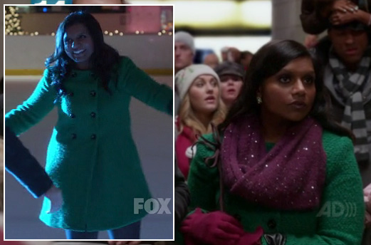 Mindy's green coat while ice skating on The Mindy Project