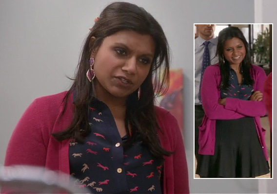 Mindy Kaling's navy and pink horse print blouse on The Mindy Project