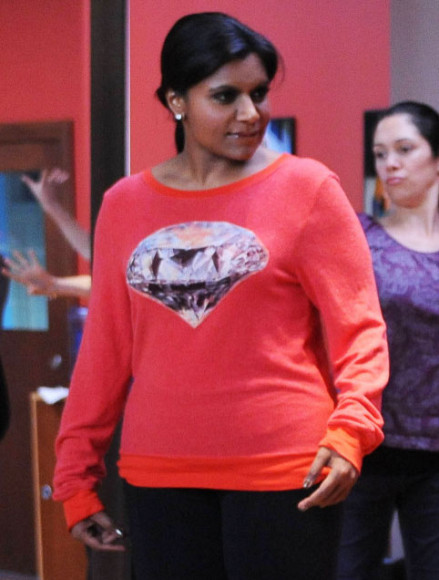 Mindy's red diamond/jewel sweater on The Mindy Project