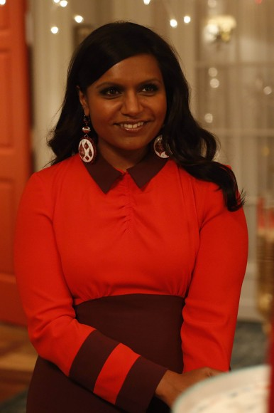 Mindy Kaling's red christmas dress on The Mindy Project