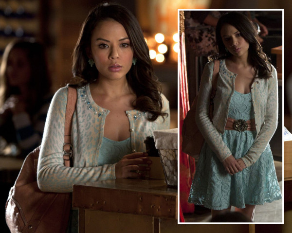 Mona's blue/mint lace dress and leopard cardigan on Pretty Little Liars