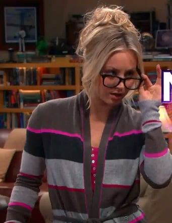 Penny's pink, brown and grey striped cardigan wrap sweater on The Big Bang Theory