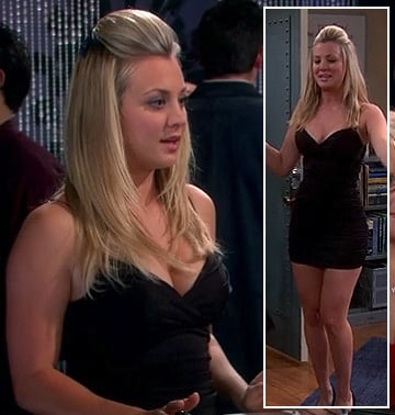 Pennys black ruched short dress on The Big Bang Theory
