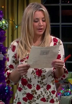 Pennys white and red rose sweater on The Big Bang Theory