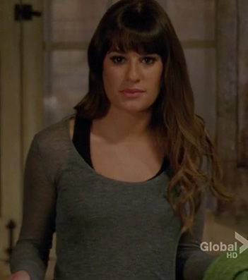Rachels sheer grey top on Glee