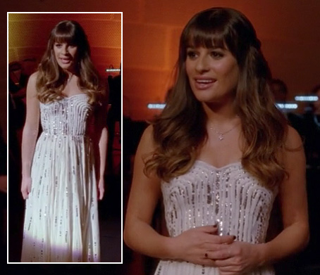 Rachel's white strapless gown on Glee