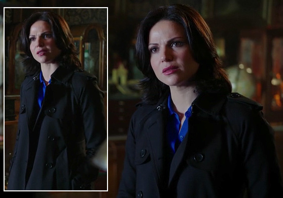 Regina's black trench coat on Once Upon A Time