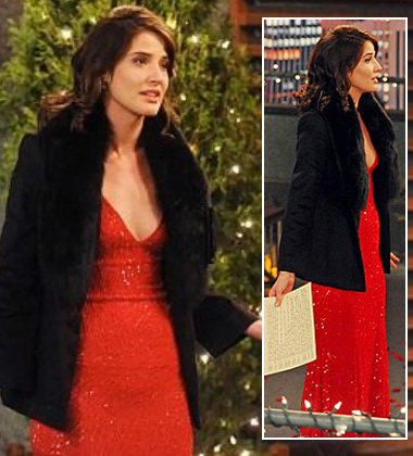 Robin's red glittery dress and black fur jacket on HIMYM Season 8