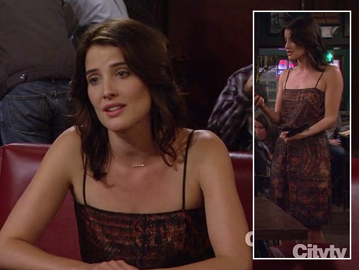 Robin's orange printed dress on How I Met Your Mother