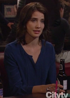 Robin's cobalt blue blouse on How I Met Your Mother