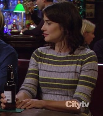 Robin's grey and yellow striped sweater with elbow patches on How I Met Your Mother
