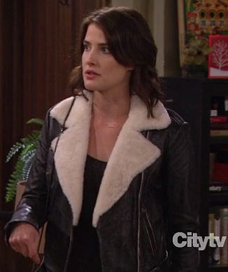 Robin's leather shearling jacket on How I Met Your Mother