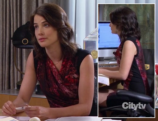 Robin's red and black sleeveless dress on How I Met Your Mother