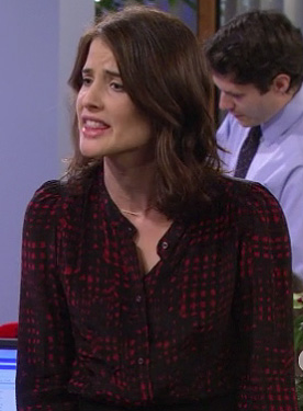 Robins red and black button front blouse on HIMYM season 8