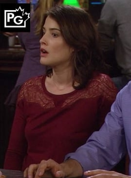 Robins burgundy lace top on How I Met Your Mother