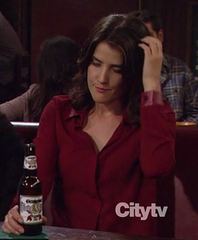 Robin's longsleeved red shirt with leather detail on How I Met Your Mother