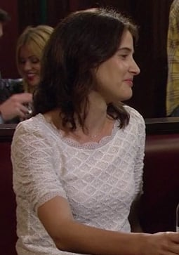 Robins white lace top on How I Met Your Mother