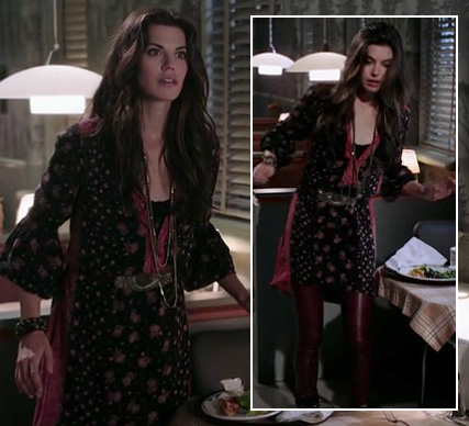 Ruby's black peasant style dress with burgundy leather leggings on Once Upon A Time