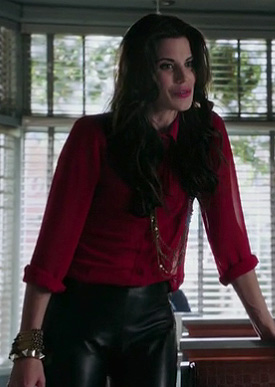 Ruby's red longsleeve sheer shirt and black leather pants on Once Upon A Time