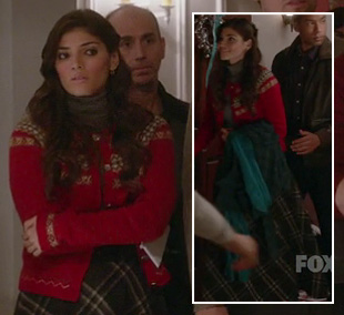 Shauna's checkered wool maxi skirt on The Mindy Project