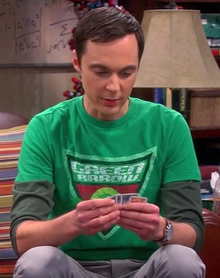 Sheldon's Green Arrow shirt on The Big Bang Theory